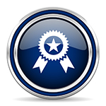 award blue glossy web icon modern computer design with double metallic silver border on white background with shadow for web and mobile app